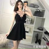 夜場洋裝低胸性感衣服夜店小個子V領女裝吊帶裙顯瘦遮肚裙子 米蘭潮鞋館