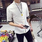 降價兩天-夏季正韓休閒白色7七分袖襯衫男士修身潮流學生襯衣中袖男裝寸衫