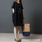 棉麻洋裝 夏裝新款韓版寬鬆大碼女裝胖mm時尚棉麻純色短袖中長款連衣裙 瑪麗蘇