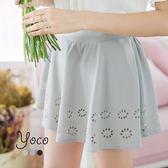 東京著衣【YOCO】多色款洞洞燒花後鬆緊褲裙-S.M.L(170602)