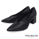 Tino Bellini 義大利進口V型深口尖楦中跟鞋 _ 黑 B83203A 歐洲進口款