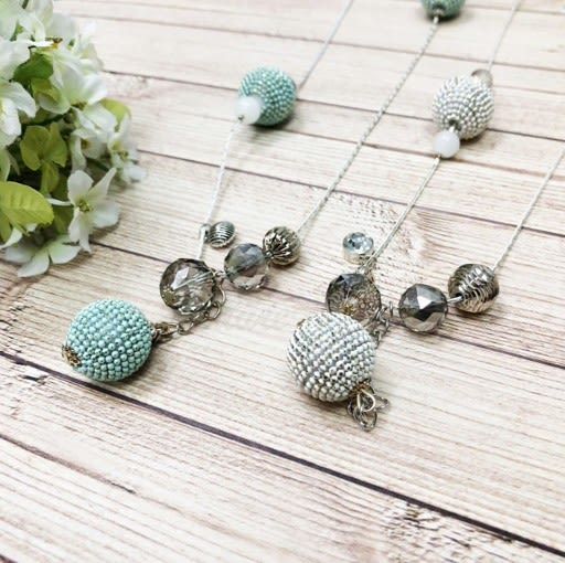 馬卡龍 水晶 球球 造型 長項鍊