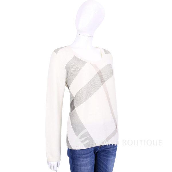 BURBERRY 米白色格紋羊毛喀什米爾長袖針織衫(87%WOOL) 1510156-03