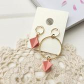 2金小圈+粉色小小立體菱形耳環-醫療鋼-耳針-C8412-pipima