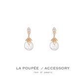 (現貨)S925銀針 復古巴洛克珍珠鋯石垂墜耳環-La Poupee樂芙比質感包飾