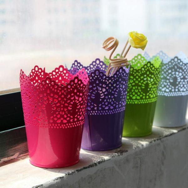 [超豐國際]糖果色鐵桶鐵藝花盆花桶插花鐵皮桶 花店裝飾創意時1入