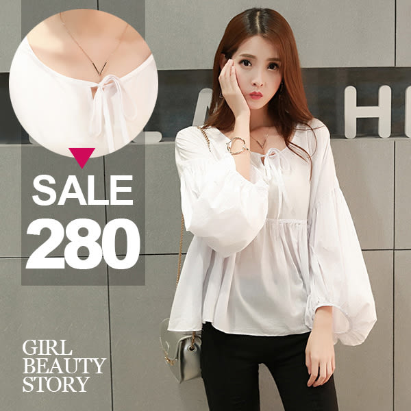 SISI【T6088】清新超寬鬆圓領繫帶泡泡袖棉麻娃娃衫上衣