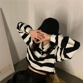 Polo衫潮寬鬆秋季短款露臍打底條紋長袖t恤女新款polo領韓版上衣春季特賣
