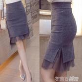 秋冬新款包臀裙高腰裙毛呢裙開叉半身裙一步裙短裙女 茱莉亞