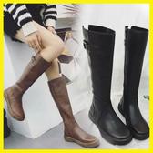 長靴冬季女2019新款韓版英倫平底顯瘦皮靴高筒過膝長筒馬靴騎士靴