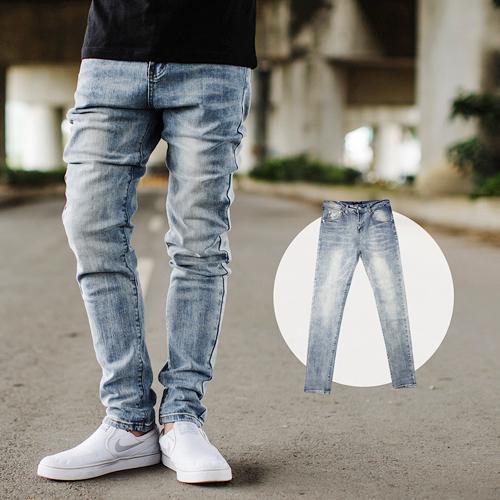 牛仔褲 韓國製微刷色素面小直筒合身牛仔褲【NB0634J】