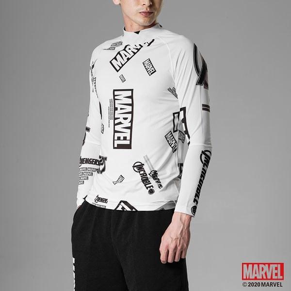 MARVEL漫威服飾 滿版設計 高領緊身衣 重訓服飾 機能運動上衣 長袖運動衣 [M19151501]