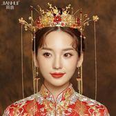 新年鉅惠 簡惠新娘結婚秀禾頭飾中式婚禮古裝流梳鳳冠整圈發箍秀禾服頭飾