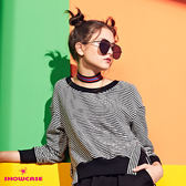 【SHOWCASE】運動風休閒條紋圓領開岔襬短版棉質上衣(黑)