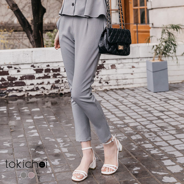 東京著衣-tokichoi-OL精選格紋側拉鍊打褶長褲-S.M.L(190171)