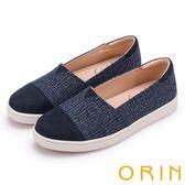 ORIN 潮流同步 特殊布料與牛皮拼接平底便鞋-藍色