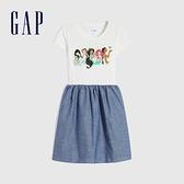 Gap女童 Gap x Disney 迪士尼系列純棉洋裝 679828-藍色