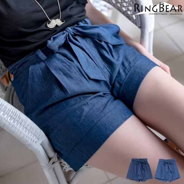 高腰牛仔褲--自信風采壓折腳口反摺高腰綁帶丹寧短褲(深藍.淺藍XL-5L)-R166眼圈熊中大尺碼◎
