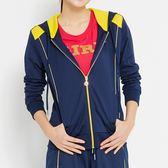 TOP GIRL-印象派角鑽貓頭鷹圖騰連帽長袖外套 -丈青