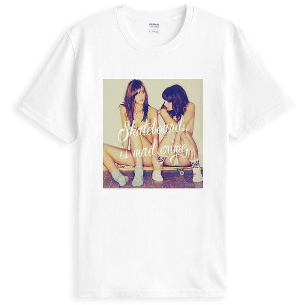 Skateboards mad短袖T恤-白色 滑板 裸女 潮流 設計 相片