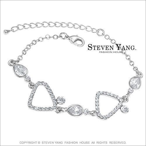 手鍊STEVEN YANG正白K飾「普普風情」名媛淑女 半寶梨形鋯石 銀色款