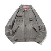 日系復古男外套外套淺灰韓版潮流磨白寬鬆 居享優品