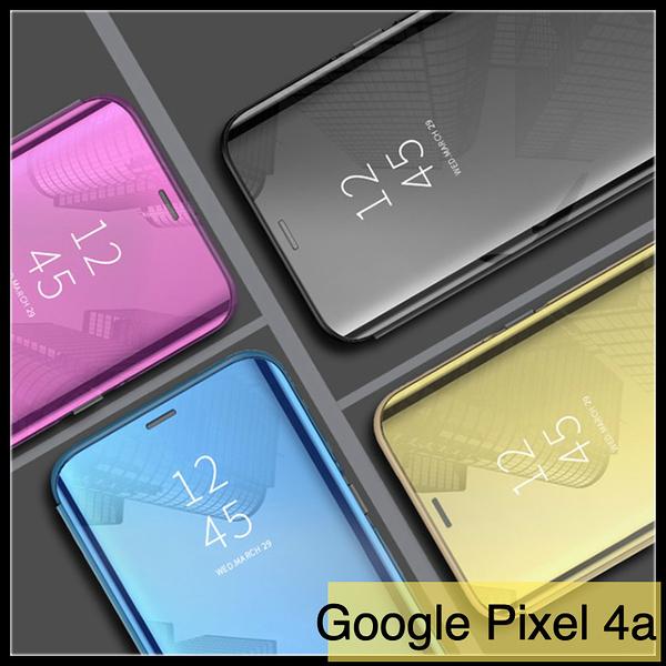 【萌萌噠】谷歌 Google Pixel 4a 4G 5G版 電鍍鏡面智能支架款保護殼 直立式休眠功能側翻皮套 手機套
