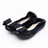 G.Ms. 雙層蝴蝶結牛皮彎折娃娃鞋-黑色