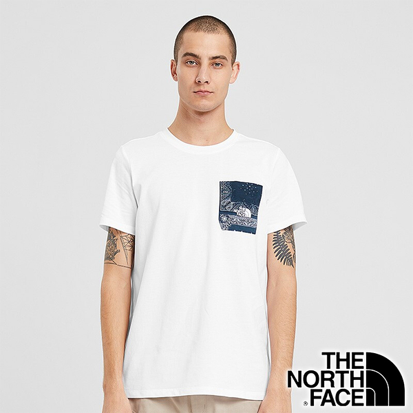 【THE NORTH FACE 美國】男 快乾圓領短袖 T恤『白』NF0A498U 戶外 登山 時尚 休閒