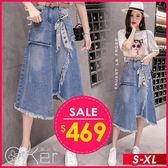 時尚不對稱毛邊牛仔A字半身裙 S-XL O-ker 歐珂兒 16009