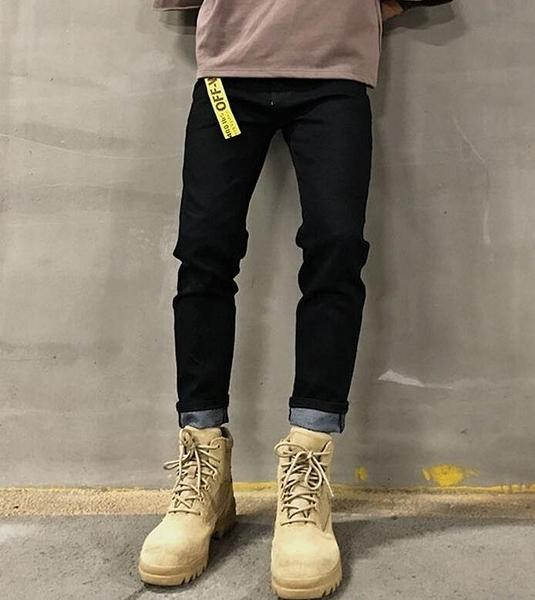 FINDSENSE MD 新款 時尚 男 潮 街頭 修身簡約素面 黑色 牛仔褲