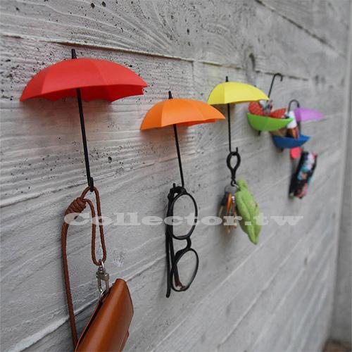 創意雨傘造型粘貼掛鉤 (三入裝) 彩色收納支架 牆壁裝飾品