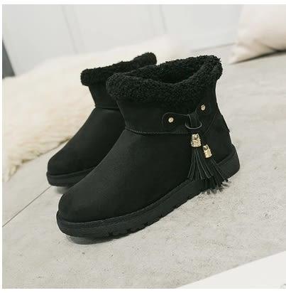 小鄧子2017冬季新款雪地靴加厚短筒棉鞋女學生韓版百搭流蘇平底加絨短靴
