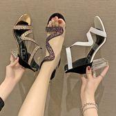 網紅女鞋夏季新款韓版水晶跟透明涼鞋女一字式扣帶粗跟高跟鞋