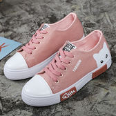 女款韓版可愛貓咪休閒帆布鞋 編號85147