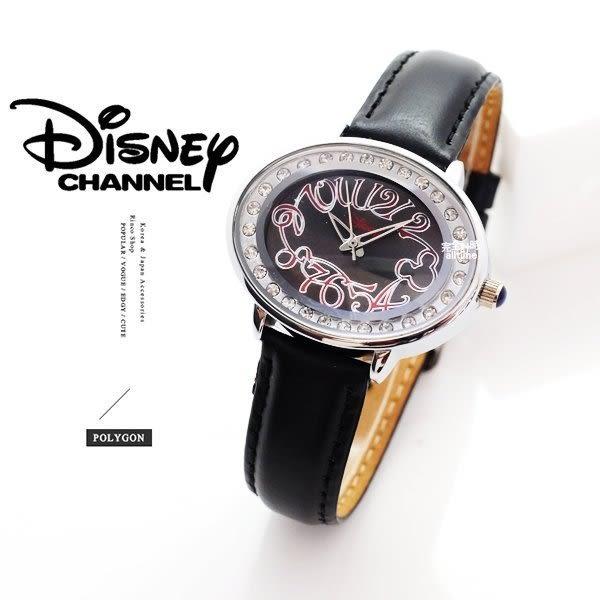 【完全計時】手錶館│ Disney 迪士尼 時尚璀璨橢圓造型腕錶-黑 推薦錶款M010-WBB 禮物