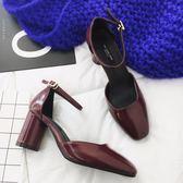 2018春季時尚復古淺口高跟鞋 跟高約7CM 百搭粗跟女鞋