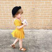 INS正韓夏女童海邊露背心T恤裙嬰幼兒寶寶短袖連衣裙兒童度假裙子