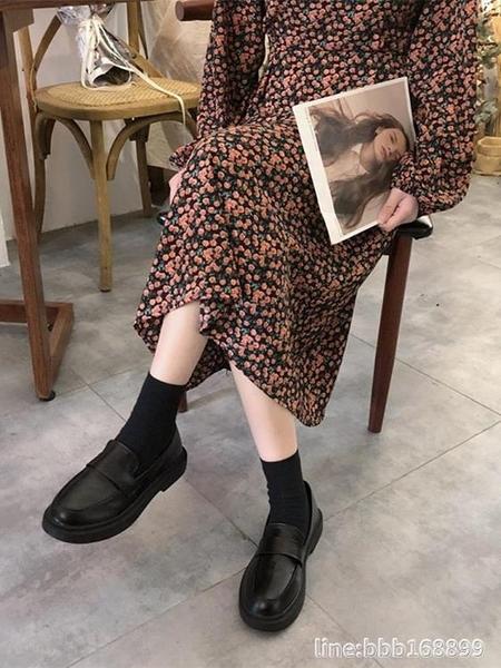 牛津鞋 單鞋女春秋款英倫風黑色小皮鞋平底韓版百搭樂福鞋冬加絨 城市科技