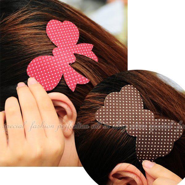 【GL345】波點蝴蝶結魔法萬能貼 蝴蝶結髮飾造型 無痕瀏海便利魔法氈(瀏海貼)★EZGO商城★