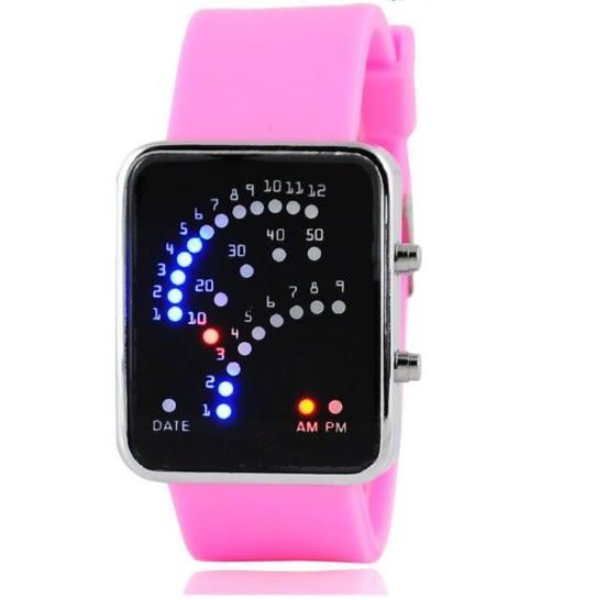 [24hr 火速出貨] 扇形 電子錶 led錶 潮流 時尚 硅膠帶 男女 學生 創意 情侶 手錶 實用 日常 時間 流行