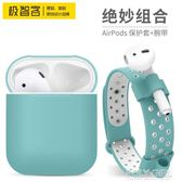 AirPods保護套 耳機盒腕帶收納   蘋果無線耳機AirPods套防塵塞 polygirl