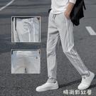 2020春夏新款冰絲條紋休閒褲男學生韓版寬鬆運動褲青少年彈力長褲「時尚彩紅屋」