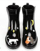 雨靴雨鞋女中筒馬丁靴女士休閒短筒防水鞋都市雨靴防滑韓版時尚雨鞋 伊蒂斯女裝