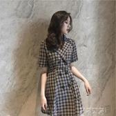 法式復古山本洋裝女甜美森系格子西裝洋裝很仙法國小眾桔梗裙夏 米娜小鋪