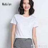 牧都蘭純棉ins潮短袖女式韓版修身打底圓領T恤2020春夏款純色上衣 怦然心動