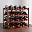 桌上紅酒架擺件葡萄酒酒架格子創意實木酒架置物架酒吧 【母親節禮物】
