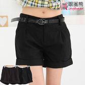 短褲--歐美款百搭毛呢反折短褲(黑.咖S-2L)-R77眼圈熊中大尺碼