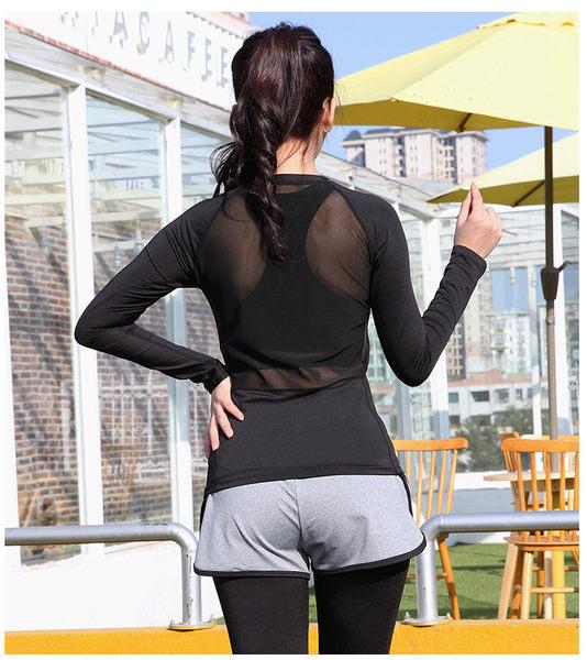 瑜伽長袖T恤純色修身適合休閒跑步健身瑜伽  KA91  &小咪的店&