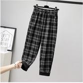 XL-4XL鬆緊腰長褲~格子直筒闊腿褲復古高腰顯瘦寬松加絨加厚長褲9625.R06愛尚布衣
